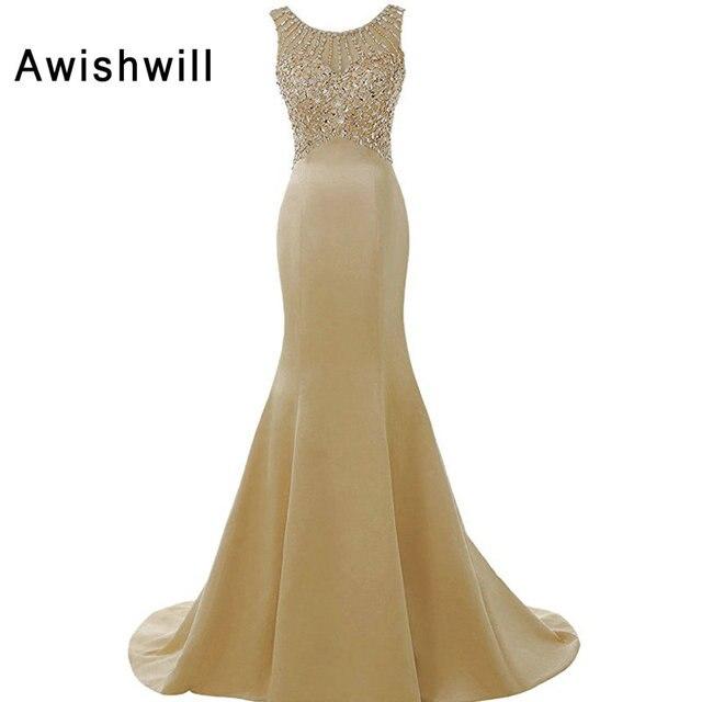 Robe De Soiree Longues Champagner Farbe Formale Kleid Für Frauen ...