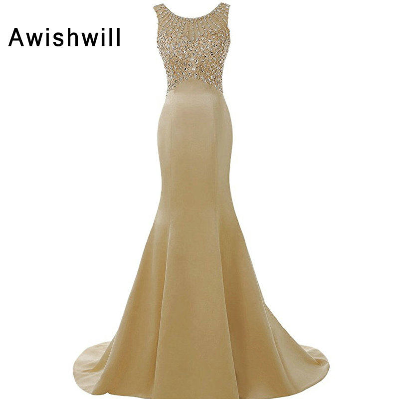 Robe De Soiree Longues Champagne Color Formal Dress For Women Sleeveless Beaded Satin Mermaid Dress Evening Party Gowns