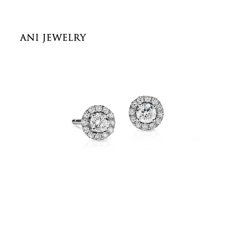 ANI 14K White Gold Women Stud Earrings 0.5 CT Certified I/SI Round Cut Real Diamond Gold Earrings Engagement boucle d oreille leg avenue колготки черные с кубинской пяткой