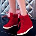 2016 весна осень женская мода кроссовки ботильоны каблуки повседневная Обувь высота увеличение клинья высокого верха Обуви Бесплатная Доставка