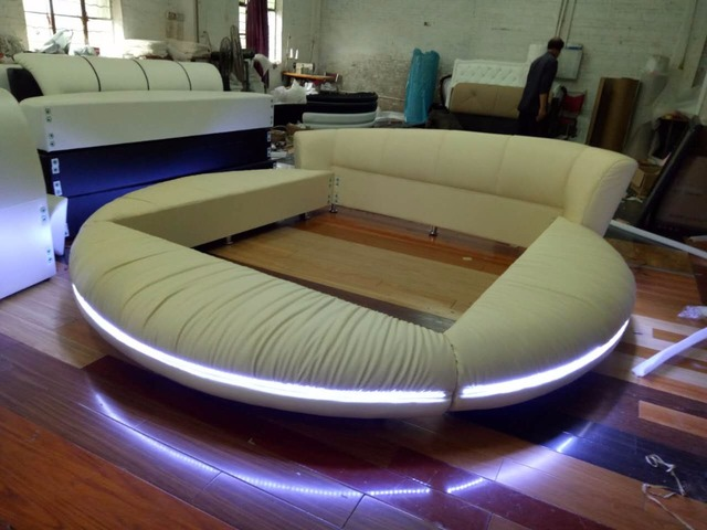 LED Remote Control Contemporary Modern Leather Round Bed King Size Bedroom  Furniture Made In China Part 33