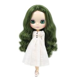 Icy dbs blyth boneca 1/6 bjd nude corpo comum verde do vintage sem franja cachos para a menina presente diy pele branca bl4299