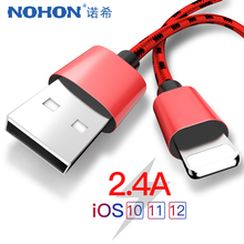 NOHON Nylon Charging Cable For Apple iPhone XR XS MAX X 8 7 6S 5S 5 6 Plus IOS 10 11 12 Phone Lighting Sync Data Cables