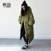 Womens Warm Coat Hooded Loose Fit Oversize Cotton Coats Winter Long Parka C14