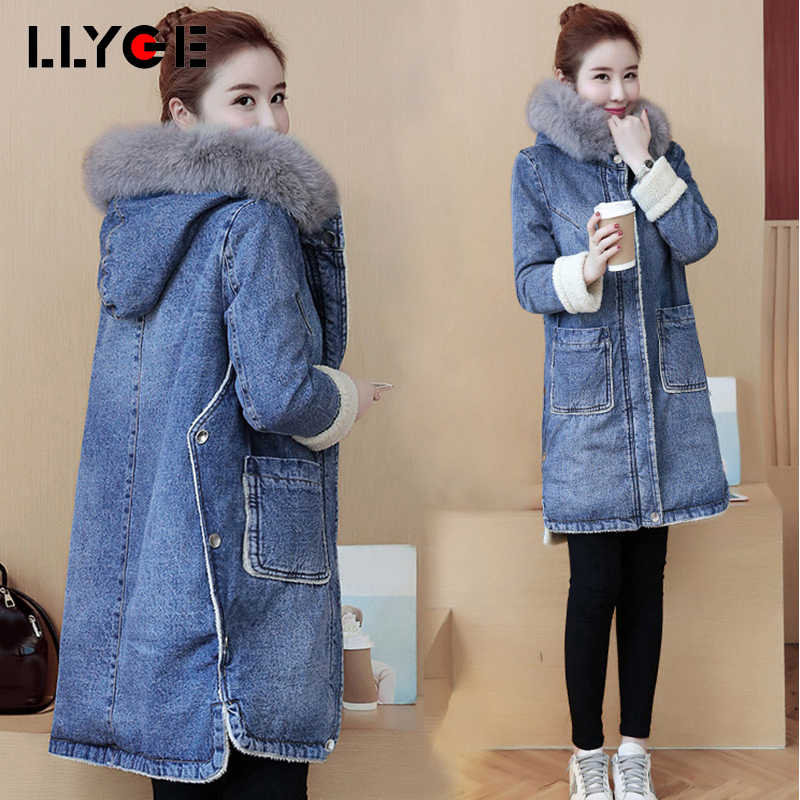 e4d82887c30 LLYGE Women Winter Lambswool Warm Denim Coats 2018 Casual Faux Fur Hooded  Velvet Thick Long Jackets