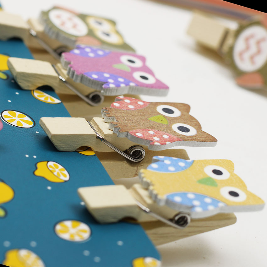 10pcslot Kawaii Owl Wooden Clip And Hemp Rope Photo Paper Craft
