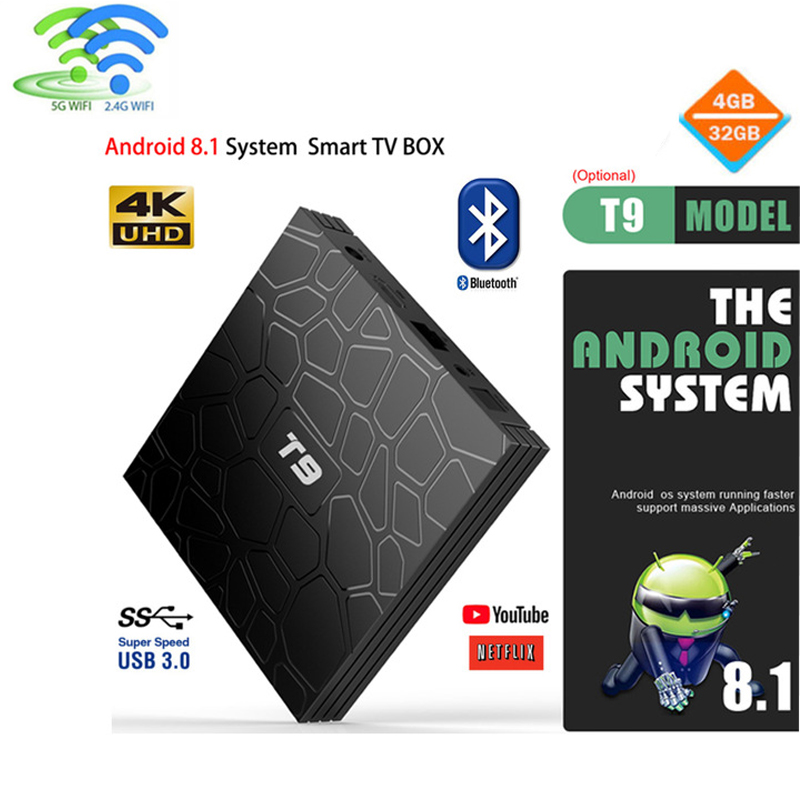 2019 4GB 64GB Android 8.1 TV Box T9 RK3328 Quad Core 4G/32G USB 3.0 Smart 4K Set Top Box Optional 2.4G+5G WIFI Bluetooth PK TX32019 4GB 64GB Android 8.1 TV Box T9 RK3328 Quad Core 4G/32G USB 3.0 Smart 4K Set Top Box Optional 2.4G+5G WIFI Bluetooth PK TX3