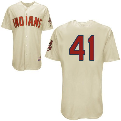 Cleveland Indians Jerseys  41 Carlos Santana Cream Baseball jersey free  shipping + 26e93c1ce
