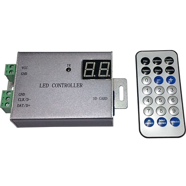 led controller support WS2812,WS2811,APA102,DMX512,etc.1 port control 4096 pixels,wireless controller,remote control