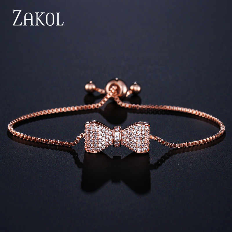 ZAKOL Top Zirconia Crystal Bow Bracelet & Bangle for Women Brilliant CZ Rose Gold Color Party Jewelry Pulseira Feminia FSBP2034