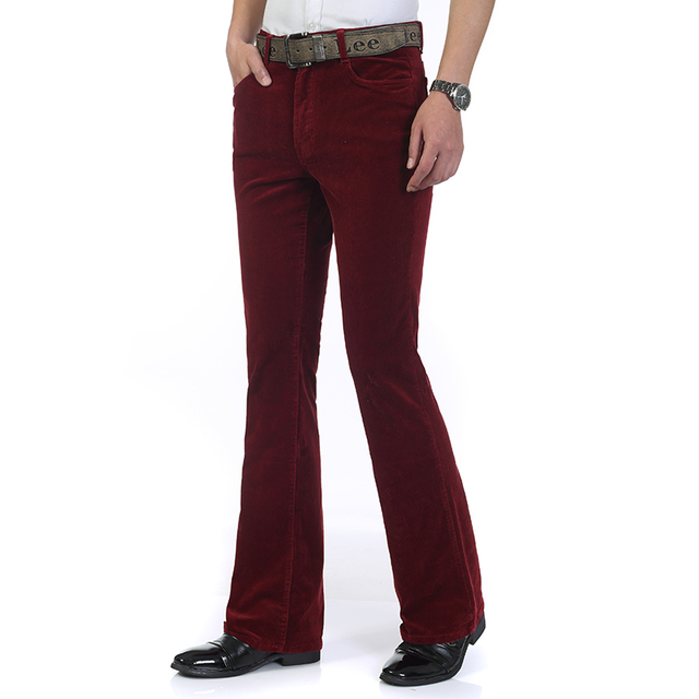 Free Shipping High Quality 2019 New Men's Spring Corduroy Flares Pants Mid Waist Smart Casual Bootcut Trousers Plus Size 27-38 85