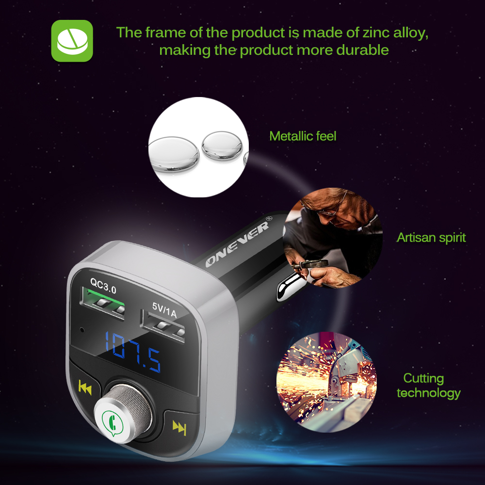 ONEVER HY82S Bluetooth FM Transmitter 2 USB QC3.0 Car Charger With All- Zinc Alloy Metal Borders Support A2DP Music Playing