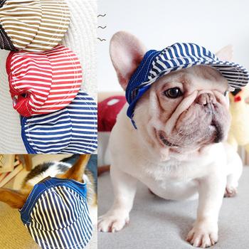 Stripe Sunny Dog czapka z daszkiem małe średnie duże zwierzę domowe buldog francuski Terrier sznaucer kapelusz dla kota Puppy akcesoria do włosów tanie i dobre opinie PETCIRCLE Sztruks Stałe Blue khaki small medium large dogs chihuahua Yorkshire Cap For Dog S M L
