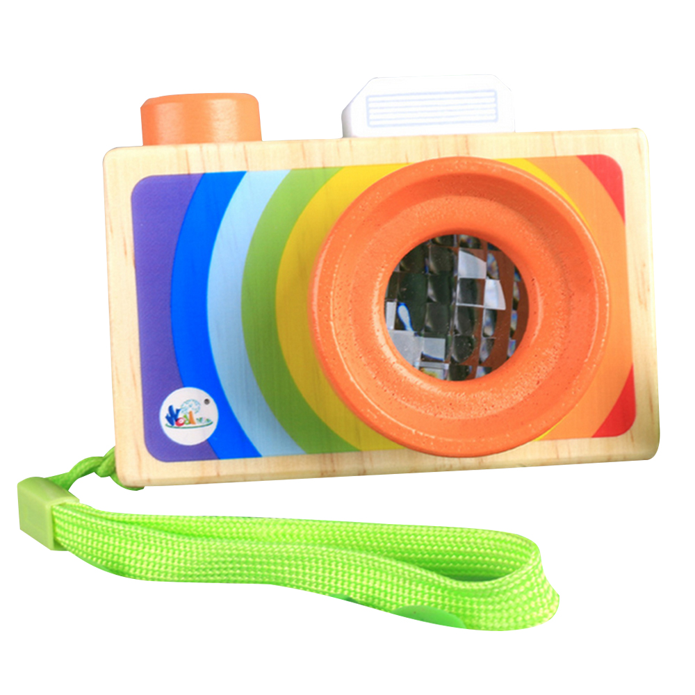 Wooden Toy Camera Pretending Toys Baby Wooden Toys Creative Neck Kaleidoscope Lens Camera Photography Prop Decoration