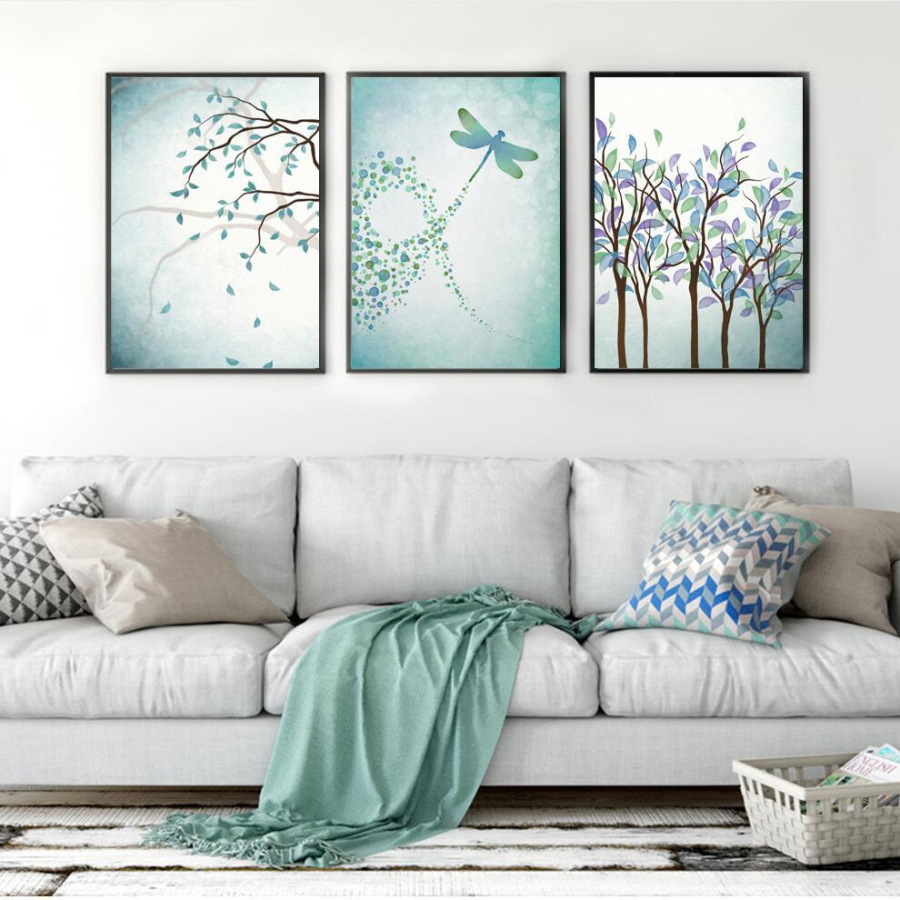 Nórdico libélula impresiones planta pared arte lienzo cuadros de ...