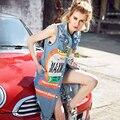 2016 Nueva Moda punk rock chaleco de mezclilla larga de las mujeres impreso Vintage Frayed denim hembra chaleco de Un Solo pecho azul chalecos LX6163