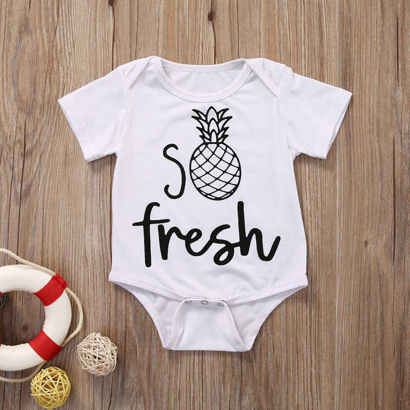 b0cb0b851e41f Cute Baby Girl White Jumpsuit Fashion Baby Boy Letter Bodysuit Toddler  Summer Fruit Outfit Sunsuit Clothes