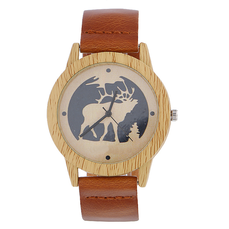 Fashion Deer Brand Mens Watches Luxury Imitation Wooden Watch Men Vintage Leather Quartz Wood Male Watch Clock Christams Gift