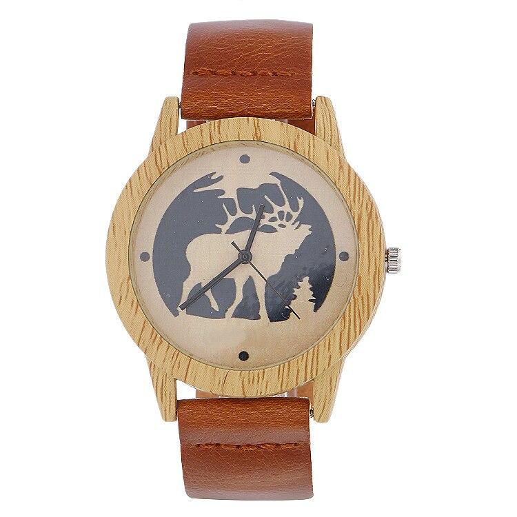 Uhren Fashion Deer Marke Herren Uhren Luxus Imitation Holz Uhr Männer Vintage Leder Quarz Holz Männlichen Uhr Uhr Christams Geschenk