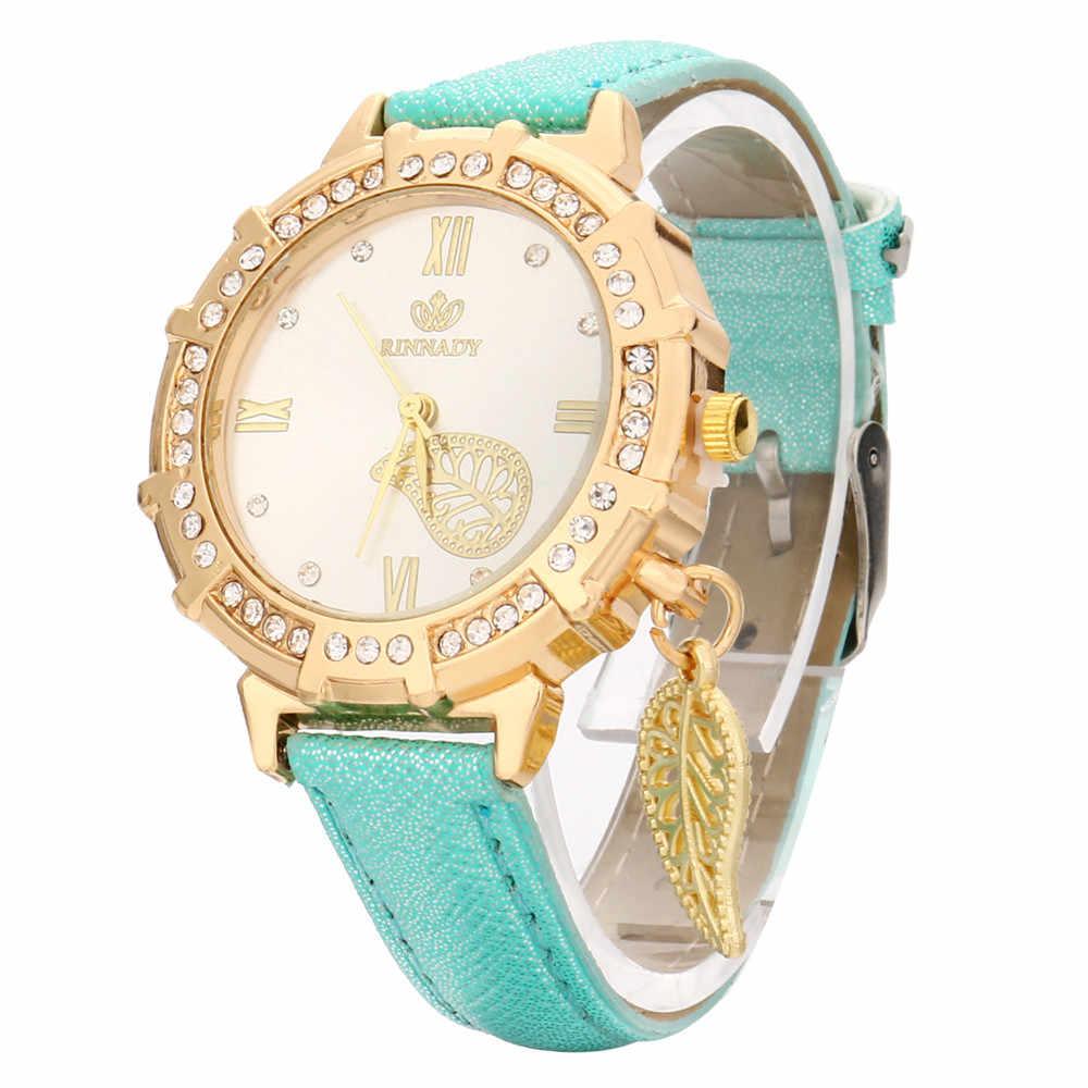 חדש נשים קוורץ יד עלים מגדל ריינסטון תליון שעון יד erkek kol saati שמלת שעון נשים נירוסטה 30