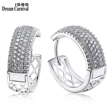 DreamCarnival 1989 New Arrivals Big Hoop Earrings for Women Rhodium Color Half White Cubic Zirconia Brinco Argola Moda SE24114
