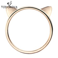 Todorova Couple Jewelry Silver Ring Cute Cat Ear Rings for Women Wholesale Female Finger Ring