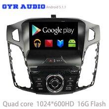 Android 5.1 Del Coche dvd GPS para ford focus 3 2012 2013 2014 con quad core usb WIFI 3G de radio auto 1024*600 pantalla