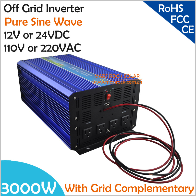 3000W DC12V/24V Off Grid Pure Sine Wave Solar or Wind Inverter, City Electricity Complementary Charging function with LCD Screen free shipping 600w wind grid tie inverter with lcd data for 12v 24v ac wind turbine 90 260vac no need controller and battery