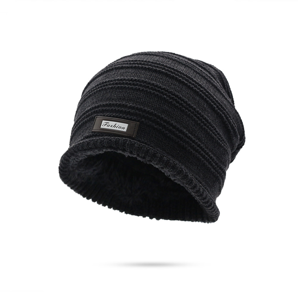 9d6254286f24c Winter Beanies Men Solid Color Knit Oversize Skulls Beanies Mens Stocking  Hat Winter Warm Plus Velvet Baggy Crochet Beanies Hats