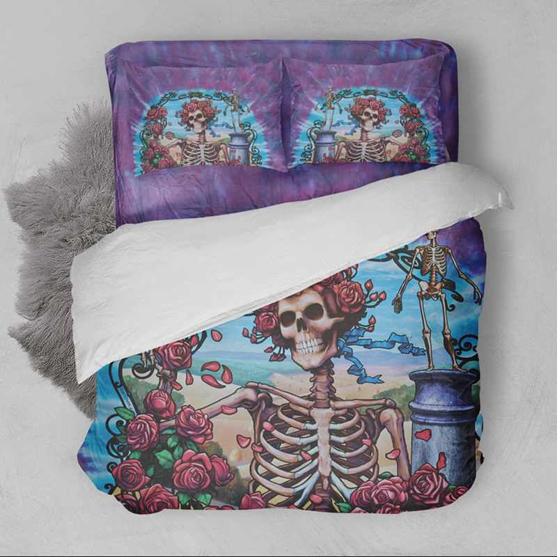 Wongsbedding 3D Skull Bedding Set Duvet/Quilt Cover Pillowcases USA Twin Full Queen King Size Floral Day of the Dead Cool Bed
