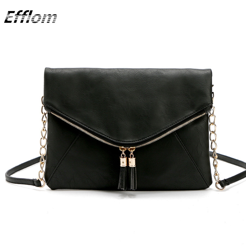 EFFLOM Handbags Women Famous Brands Small Bag Crossbody Chain Shoulder Bags Envelope Clutches Tassel Ladies Hand