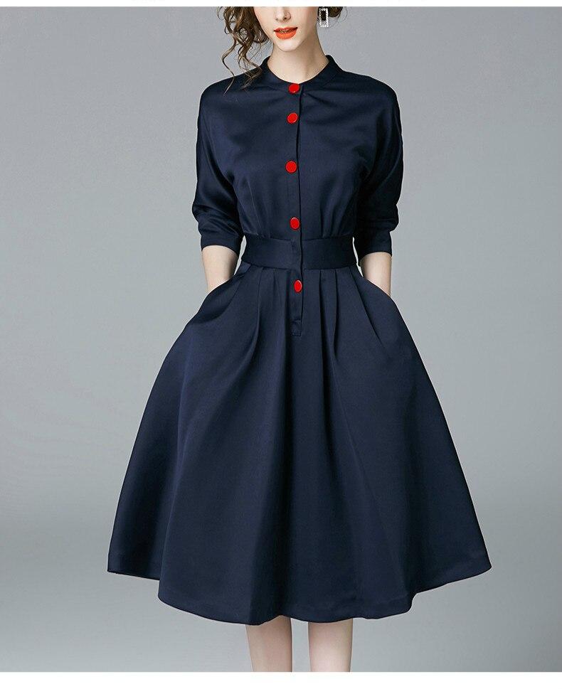 New Spring Autumn Vintage Dresses Women Slim 3/4 Sleeve A Line Office Wear Dress Elegant Laides Ol Work Business Dresses 5