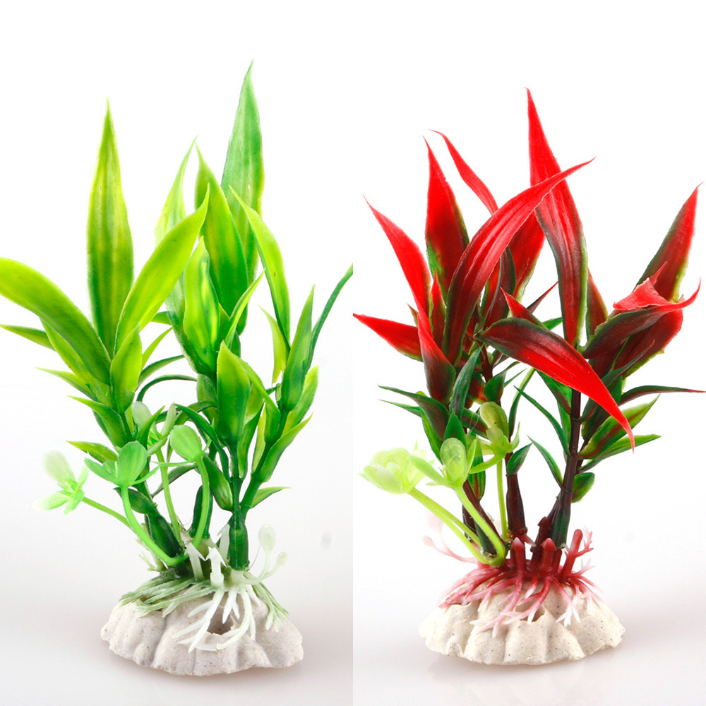 Fish aquarium with plants - New Red Green Plastic Plant Grass Aquarium Decorative Fish Tank Landscape Decoration 27650 China