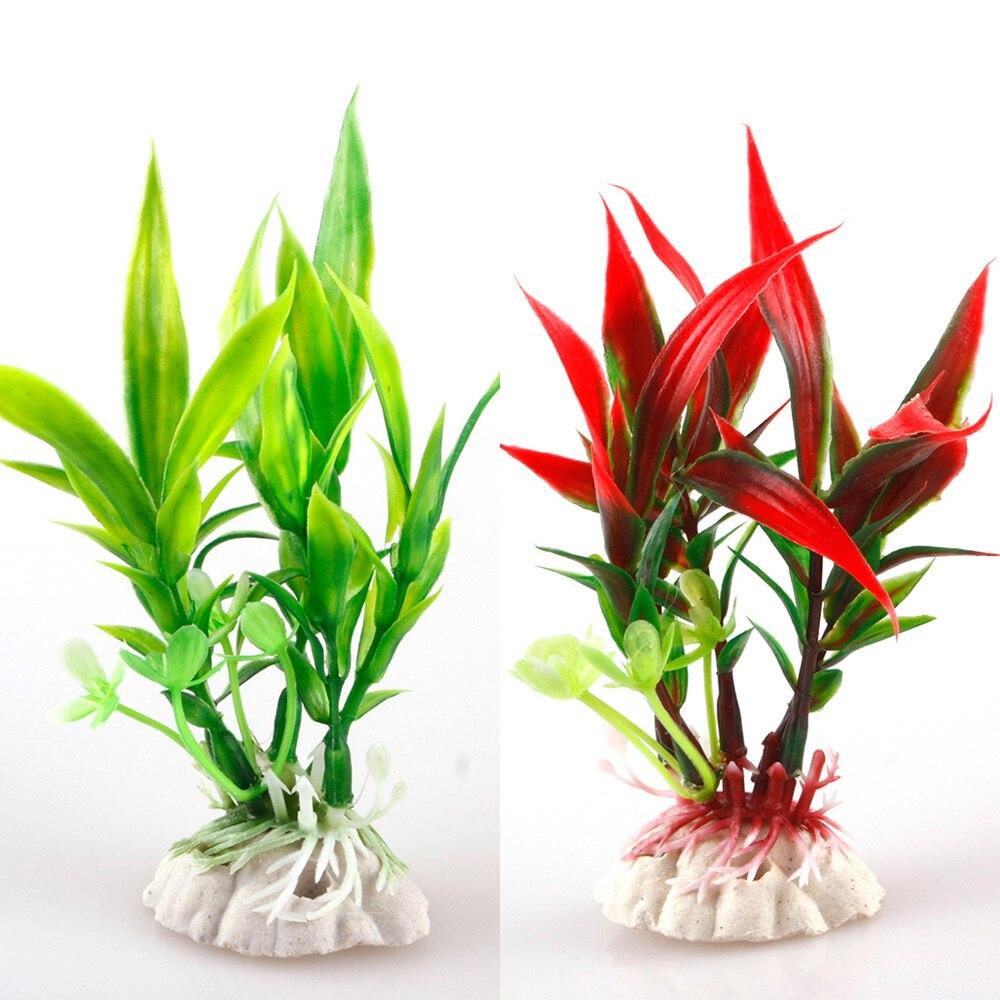 Fish for aquarium plants - New Red Green Plastic Plant Grass Aquarium Decorative Fish Tank Landscape Decoration 27650