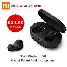 Самые дешевые Xiaomi Redmi AirDots True беспроводной Bluetooth 5,0 наушники DSP наушники от шума с микрофоном наушники TWSEJ04LS