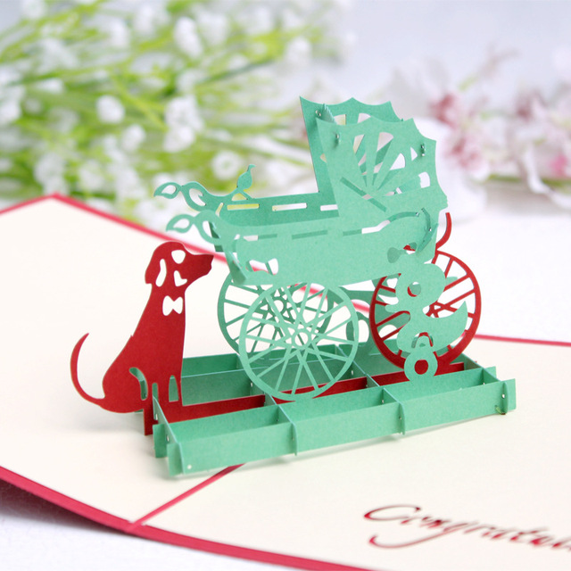 Free Shipping Pop Up Paper Cradle with Dog Greeting Card Sample 3D