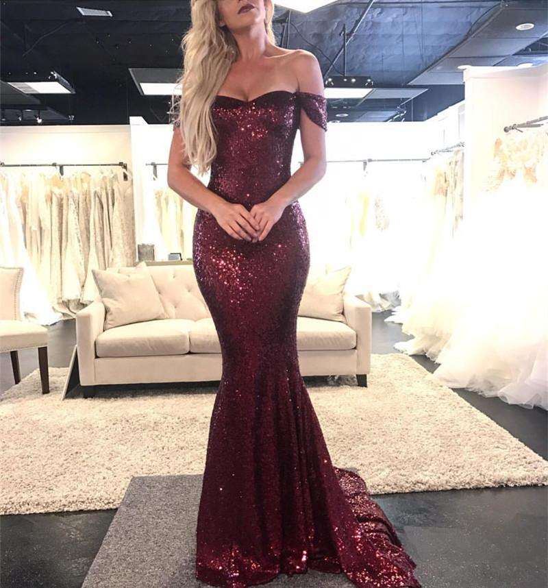Burgundy 2019   Prom     Dresses   Mermaid Off The Shoulder Sequins Sparkle Party Maxys Long   Prom   Gown Evening   Dresses   Robe De Soiree