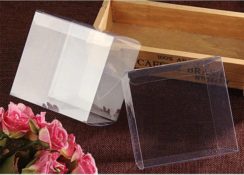 500 pcs 10x10x10 cm jóias caixa de presente claro caixas de armazenamento caixa de plástico transparente de pvc caixas de embalagem exibição pvc boxen para o casamento
