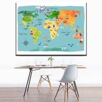 Xdr664 Nordic Children Kawaii Cartoon Animals World Map Canvas Print Painting Poster Wall Pictures For Kids