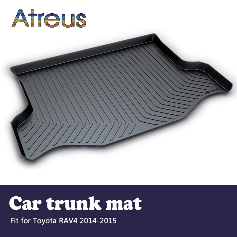 Atreus Car Rear Trunk Floor Mat Durable Carpet For Toyota RAV4 RAV 4 2013 2014 2015 Boot Liner Tray Waterproof Anti-slip mat atreus car rear trunk floor mat durable carpet for toyota corolla e140 e150 2007 2013 boot liner tray waterproof anti slip mat