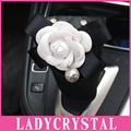 Ladycrystal PU Leather Camellia Gear Stick Cover Cute Camellia Gear Shift Collars For Girls Women Car Styling Accessories