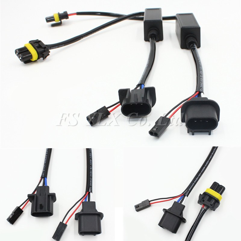FSYLX 2pc H13 HID Relay Harness HI/LO Xenon Kit H13 Wiring Wire 12v auto wire harness connector for h13 xenon hid kit h7 xenon hid conversion kit relay wiring harness kit black