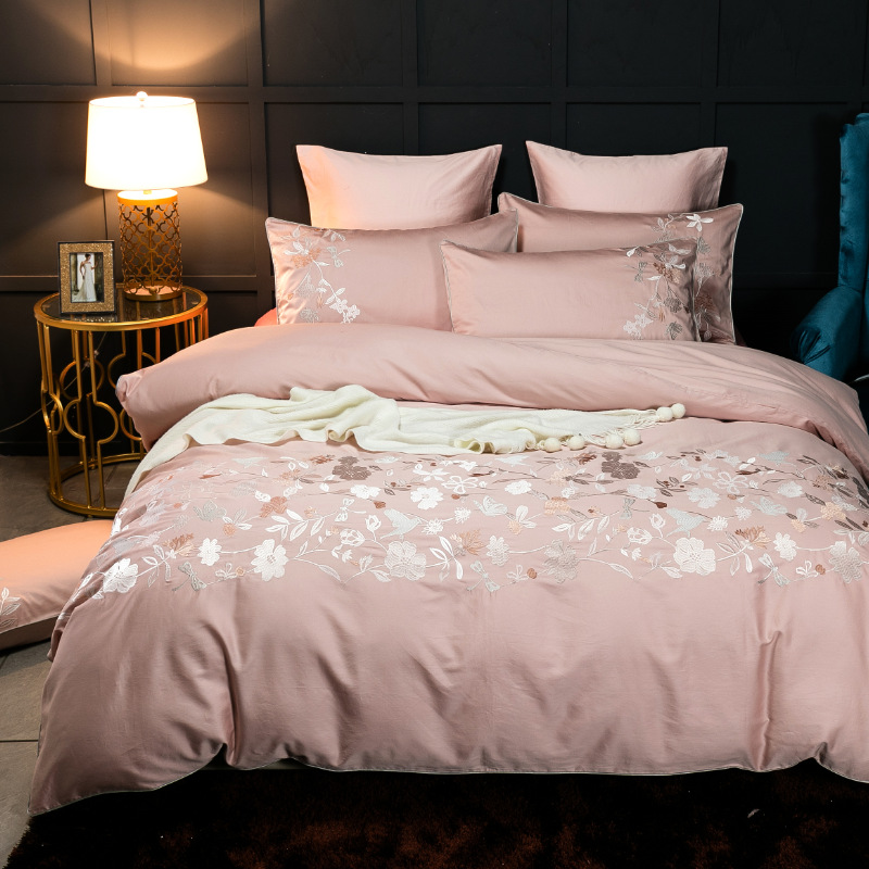 American Villa Embroidery 60 Satin Cotton Covered European Bedding Quilt Cover Sheets Duvet Cover Bedding Set Luxury