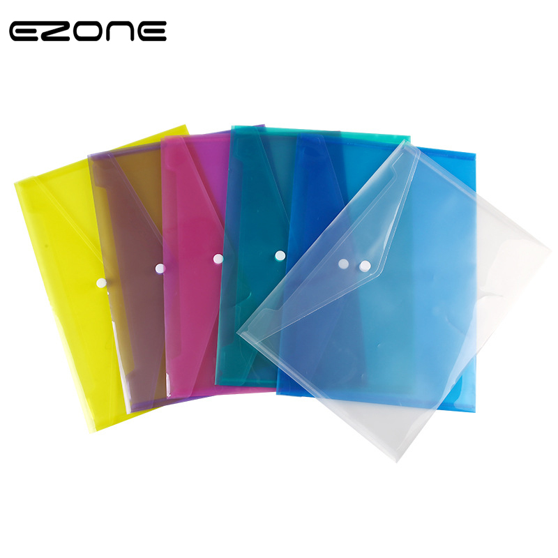 EZONE 1PC A4 Transparent PP Plastic Button Folder File Bag 6 Colors To Choose Large Capacity Document Hold Bags School Office