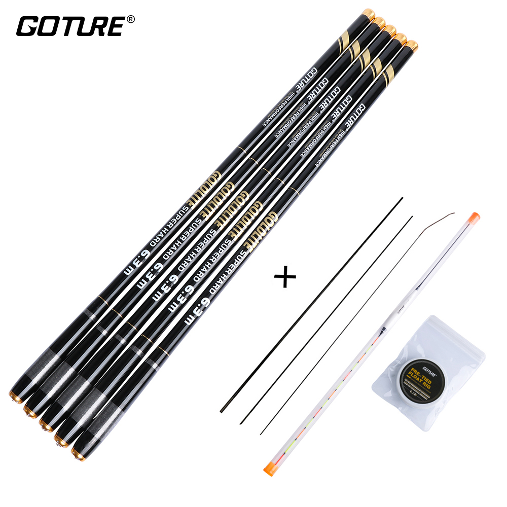 Goture GOLDLITE Carbon Fiber Fishing Rod 3.6M-7.2M Telescopic Stream Rod with Fishing Float+ Line Rod Set for Cap Fishing goture fishing rod