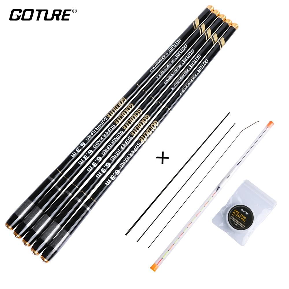 Goture GOLDLITE Carbon Fiber Fishing Rod 3.6M-7.2M Telescopic Stream Rod with Fishing Float+ Line Rod Set for Cap Fishing