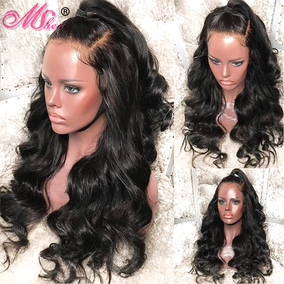 Mshere 360 Lace Frontal Wig 150% Density Pre Plucked Brazilian Body Wave Hair Lace Front Human Hair Wigs RemyHair Human Lace Wig