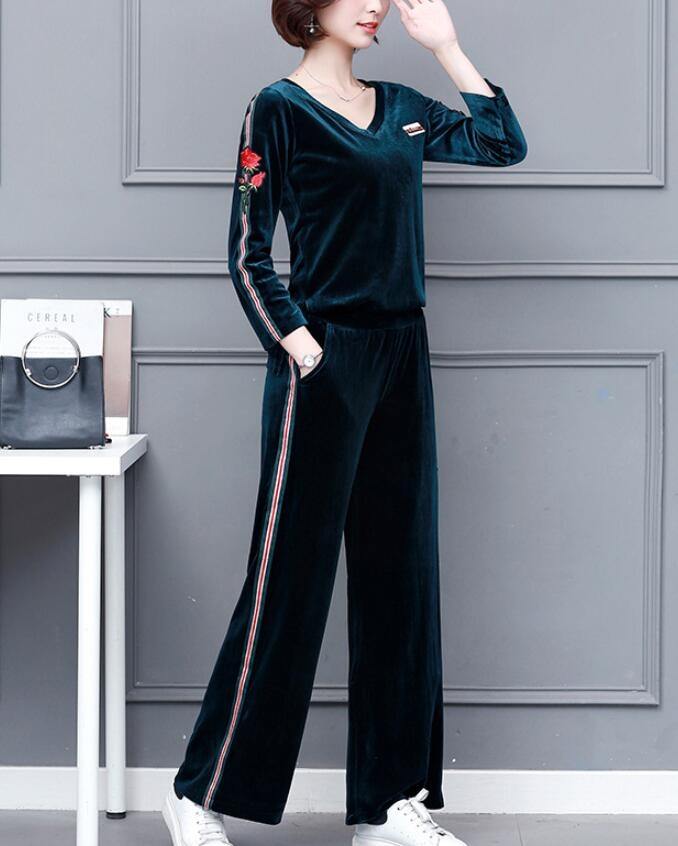 Large Size Pants Suit Female Spring Autumn Casual Two-piece Set Embroidered Striped Top Gold Velvet Trousers Set Women's Outfits