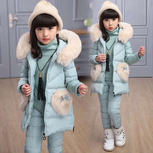 3 Pcs Girl Pants Suits Warm Cotton Girls Clothing Set 2018 Winter Child Fashion Teenager 4-15Y Suit Princess Fur Hooded Costume