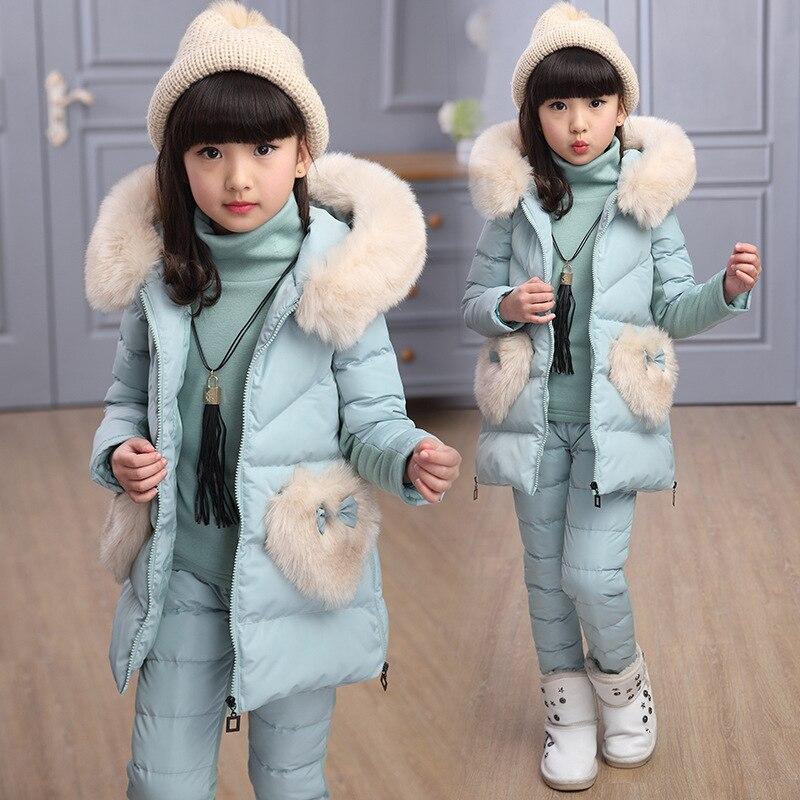 3 pcs Fille Pantalon Costumes Chaud Coton Filles Vêtements Ensemble 2018 Hiver Enfant Mode Adolescent 4-15Y Costume Princesse De Fourrure À Capuchon costume